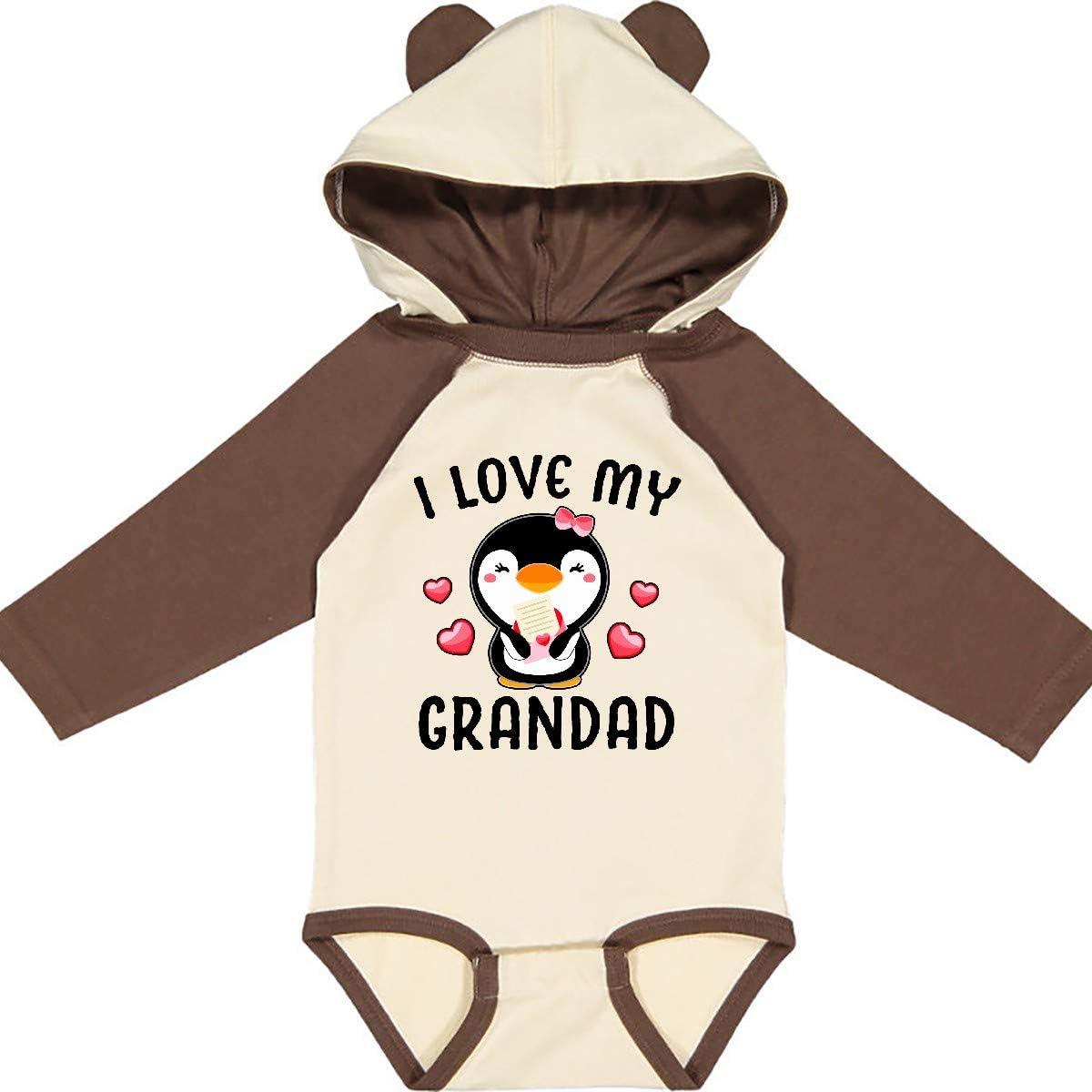 inktastic I Love My Grandad with Cute Penguin and Hearts Long Sleeve Creeper