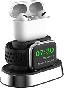 ThEast 2 in 1 Charger Stand Compatible for Apple Watch Series 1/2 / 3/4 / 5/6 / SE, iWatch 38mm 40mm 42mm 44mm, AirPods 1 / AirPods 2 / AirPrds Pro (Cables not Included) (Black)