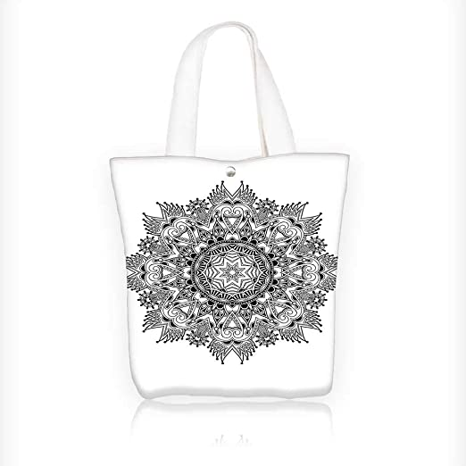 Bolsa de tela con cremallera, estampada floral, diseño de mandala ...