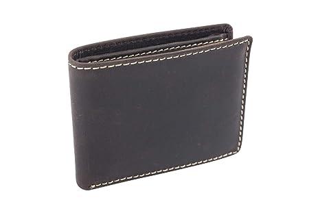 Cartera pequeña para señores Monedero para señoras Vintage Style LEAS, Piel auténtica, marrón -
