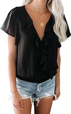 FIYOTE - Camisa de gasa para mujer, suelta, cuello en V, camisetas en 4 colores, S/M/L/XL/XXL Negro L: Amazon.es: Ropa y accesorios