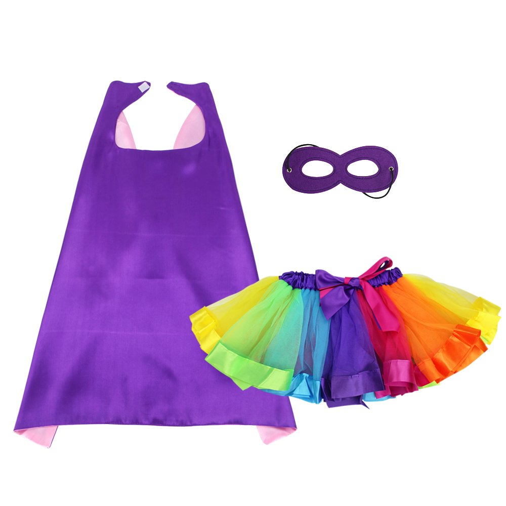 BREEZEIE Kids Superhero Cape and Mask with Tutu Skirt for Girls Princess Dress up Pretend Play Party Costume