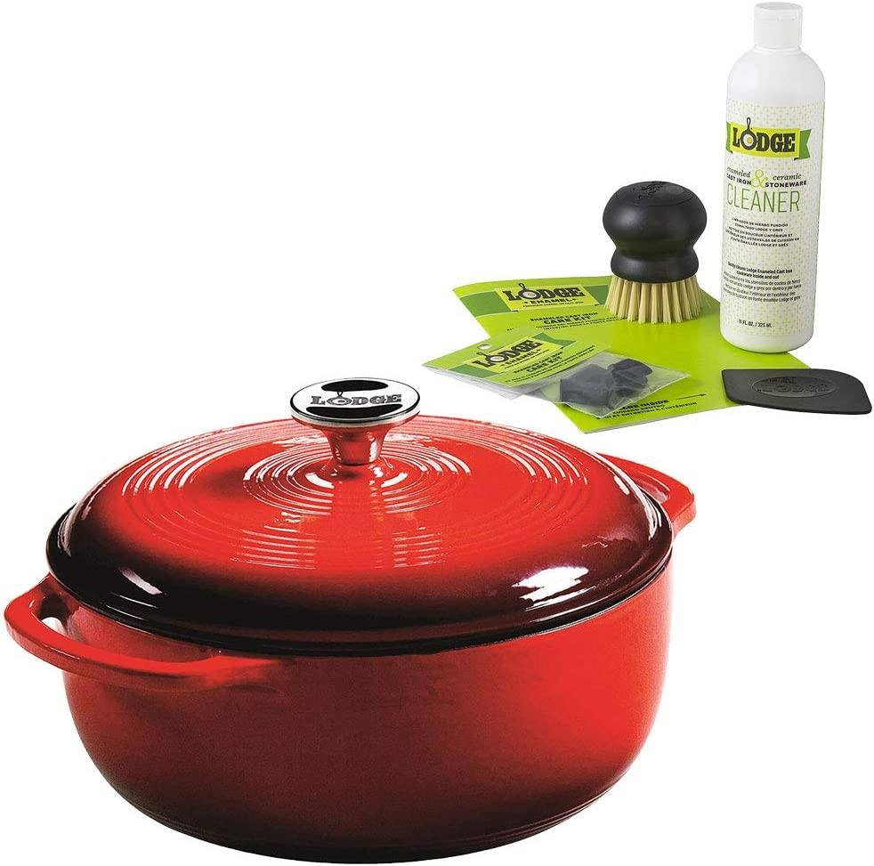 Lodge 3 Quart Red Enameled Cast Iron Dutch Oven + Enameled Cast Iron Care Kit