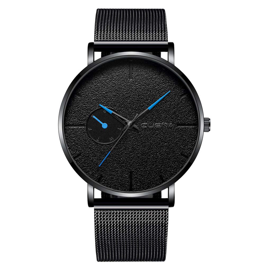 Pandaie Watch Promotion! Luxury Fashion Faux Leather Mens Quartz Analog Watch Watches Black