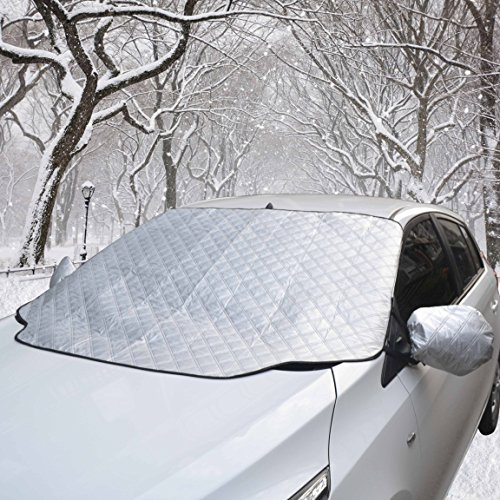 """Car Windshield Cover Snow Shield Sunshade with Wiper Protector Keep Ice Frost Snow Off UV Proof Fits Most Cars (55""""x37.4"""")"""
