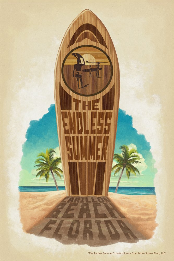 Carillonビーチ、フロリダ州 – The Endless Summerサーフボード – In Sand 36 x 54 Giclee Print LANT-51841-36x54 36 x 54 Giclee Print  B017E9YBT0