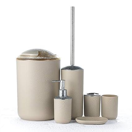 JOTOM Juego de Accesorios de Baño 6 Piezas,Cubo de Basura,Jabonera,Dispensador de jabón, Vaso,Vaso para Cepillo de Dientes y escobilla (Beige)