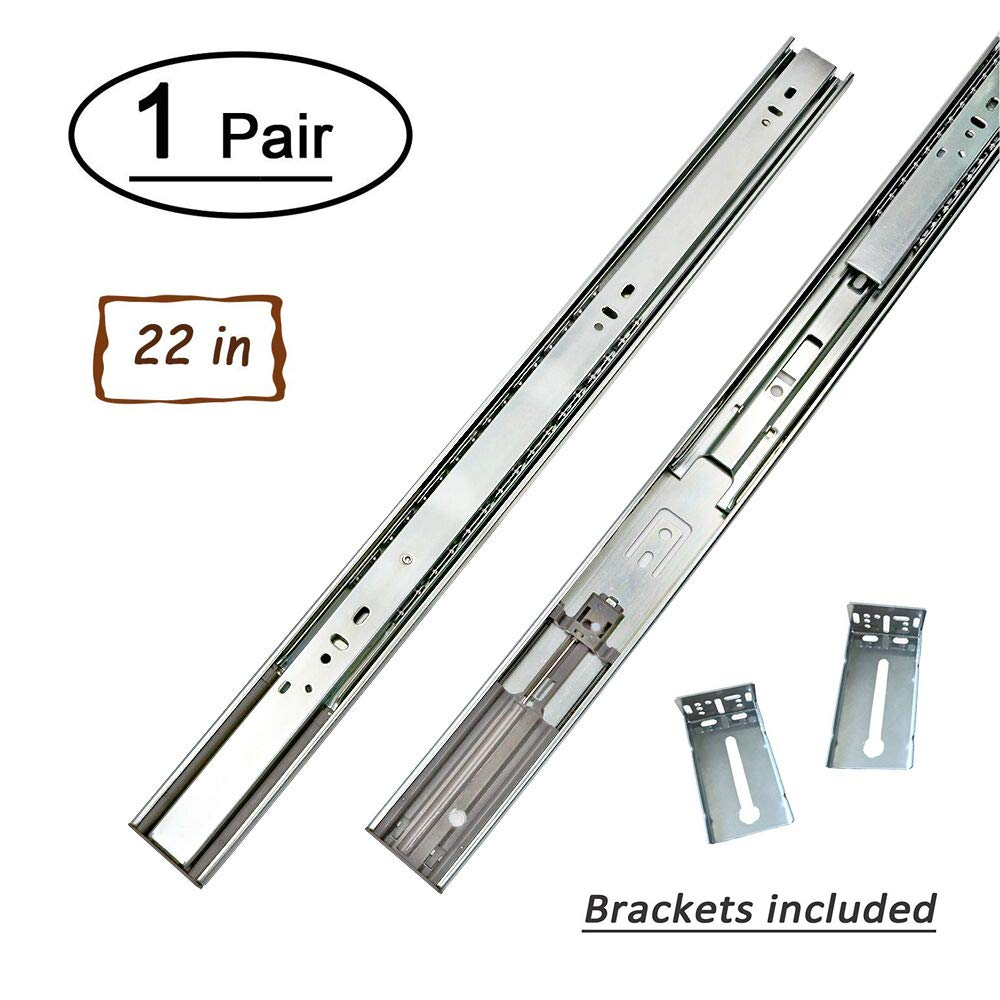 1 Pair 22 Inch Side/Rear Mount Soft Close Drawer Slides Full Extension 3 FOLD Drawer Glides - LONTAN 4502S3-22  Drawer Slides Bottom Mount Heavy Duty 100 LB Drawer Runners with Rear Mounting Brackets