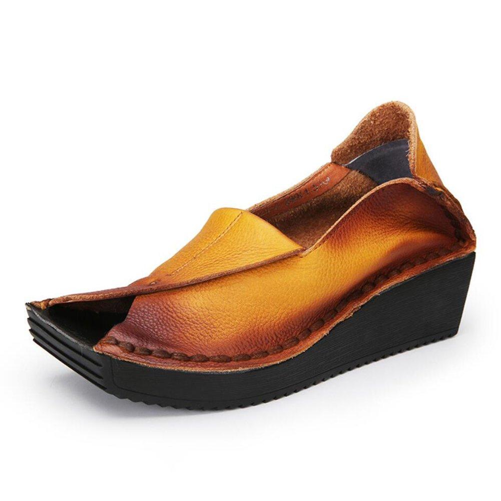 XUE Damenschuhe Leder Fruuml;hjahr/Sommer Loafers  Slip-Ons Fahr Schuhe Persouml;nlichkeit National Style Sandalen/Hausschuhe  Flip-Flops Wanderschuhe Office Breathable (Farbe : EIN, Grouml;szlig;e : 36)  36|Ein