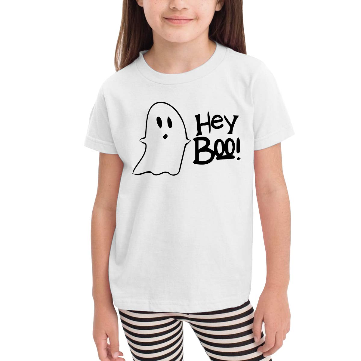 RTKYB-C Childrens Hey Boo Short Sleeve Tee Leisure Crew Neck Tee
