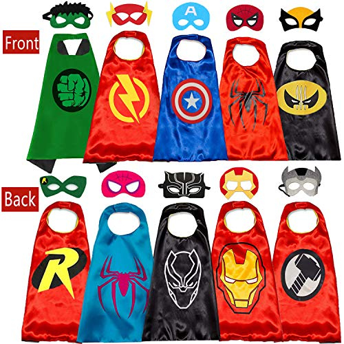 Childs Halloween Costume (NuGeriAZ Superhero Cape for Kids-Halloween Cape and Mask Cosplay Costumes Set for Kids (Double Sided Cape) (5Pcs)