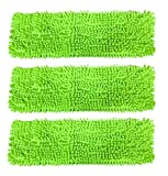 Premium 16'' Inch Green Chenille Microfiber Wet/Dry Mop Pads for Household and Commercial Microfiber Mops (3)