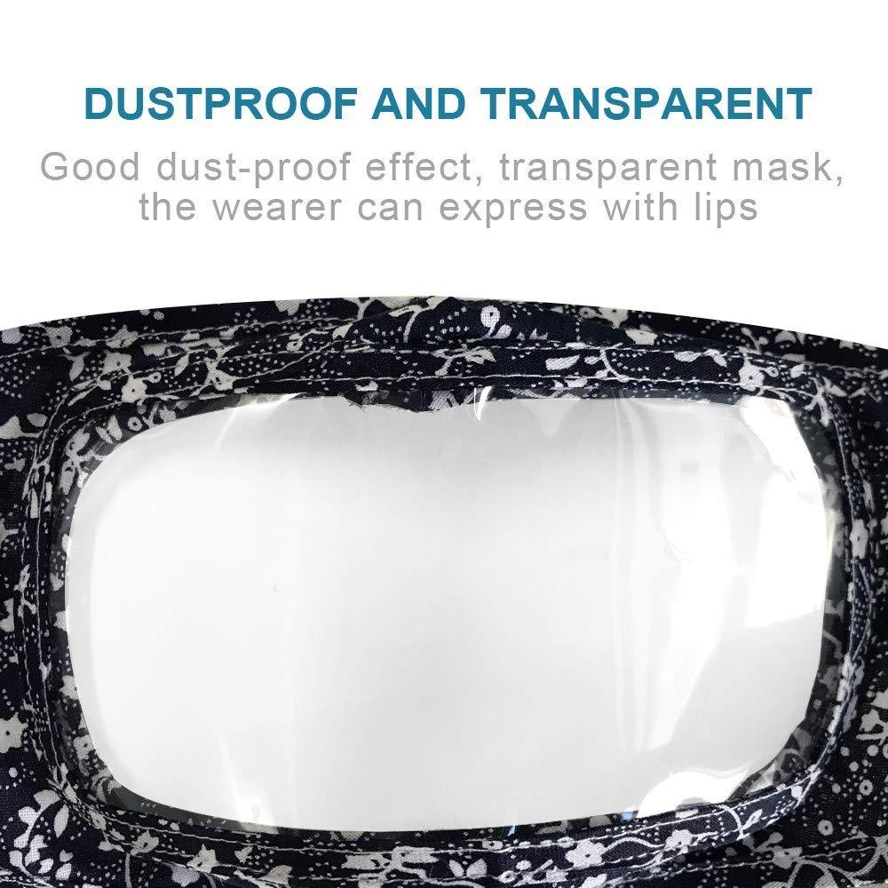 con Ventana Transparente Expresi/ón Visible Anti-Haze Polvo para Adultos Reutilizables y Transpirables 5 Piezas de Bandanas Transparentes Transpirables para la Cara para Personas Sordomudas