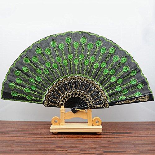 Black Green Spanish Style Dance Wedding Party Lace Silk Folding Hand Held Flower Fan