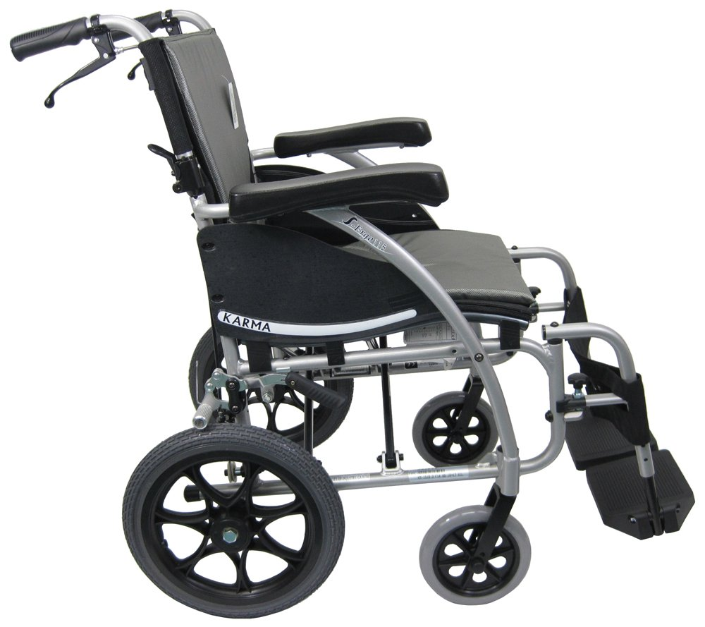 Transport chair amazon - Amazon Com Karman Transport Wheelchair With Companion Brakes 18 Inch Seat And 14 Inch Rear Wheels Silver Frame Health Personal Care
