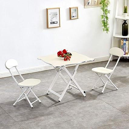 ZH Pequeña Plegable Mesa y 2 sillas para el hogar, Mesa de ...