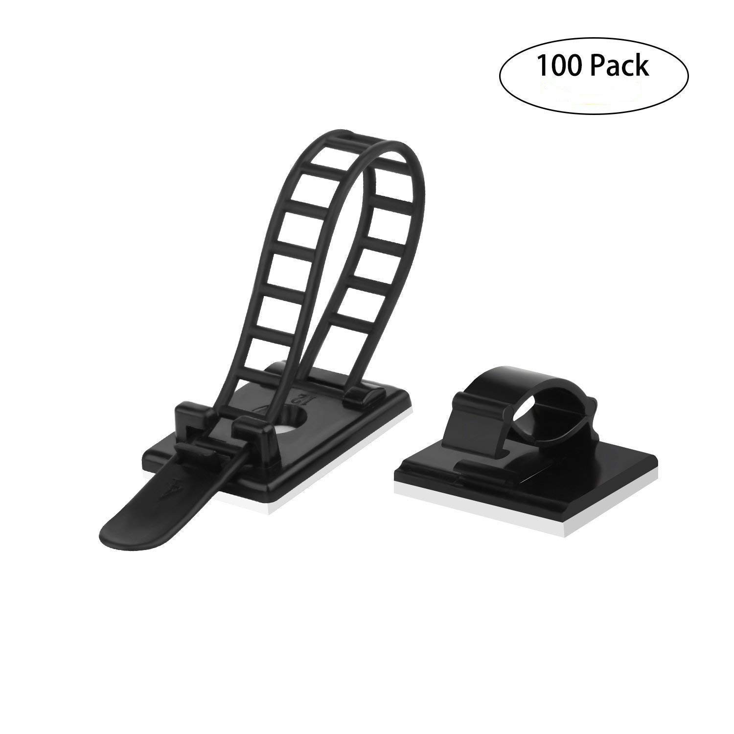 100Pcs Cable Clips Cable Clamp Adhesive Cable Ties Holder Cord Management Clips for Car, Office and Home Md trade