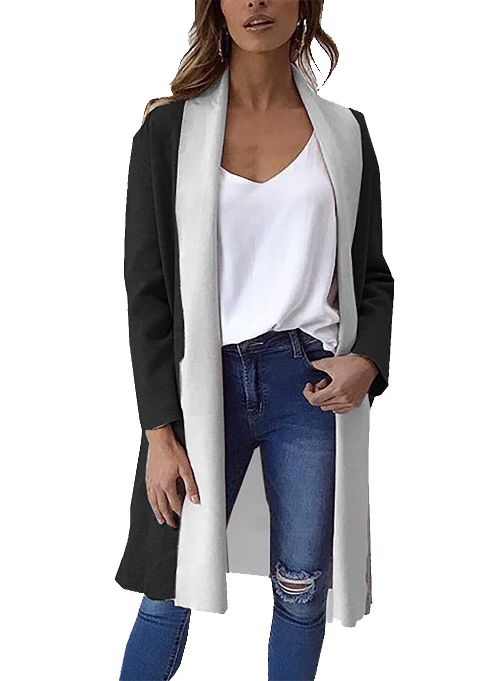 PRETTYGARDEN Women's Long Sleeve Shawl Collar Draped Open Front Long Cardigan Thick Coat Outwear  (Black, Large)