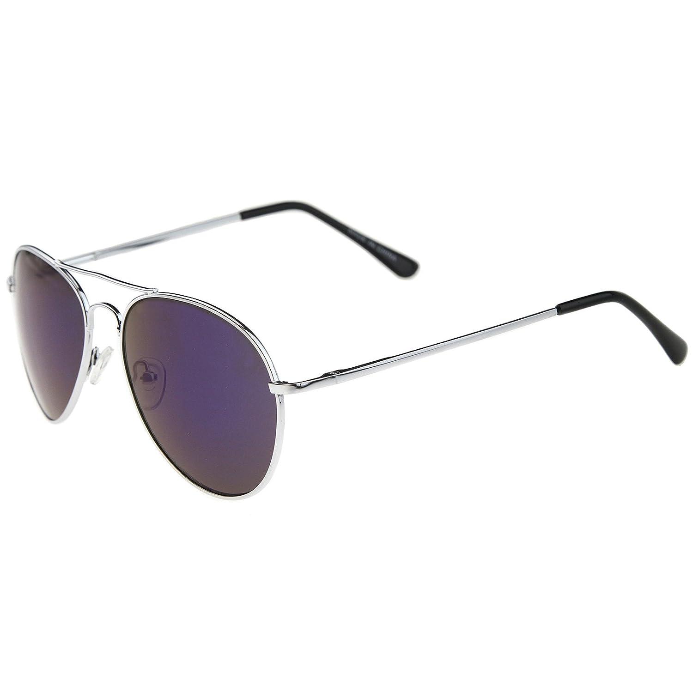 a3466e740 Amazon.com: zeroUV - Premium Full Mirrored Aviator Sunglasses w/Flash Mirror  Lens (Silver/Blue): Shoes