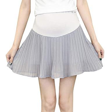 QinMMROPA Maternidad Falda de Plisado, Premamá Falda Corta Cintura ...