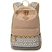 Casual and simple canvas bag computer bag schoolbag backpack for unisex. Khaki
