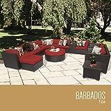 TK Classics 12 Piece Barbados Outdoor Wicker Patio Furniture Set, Terracotta