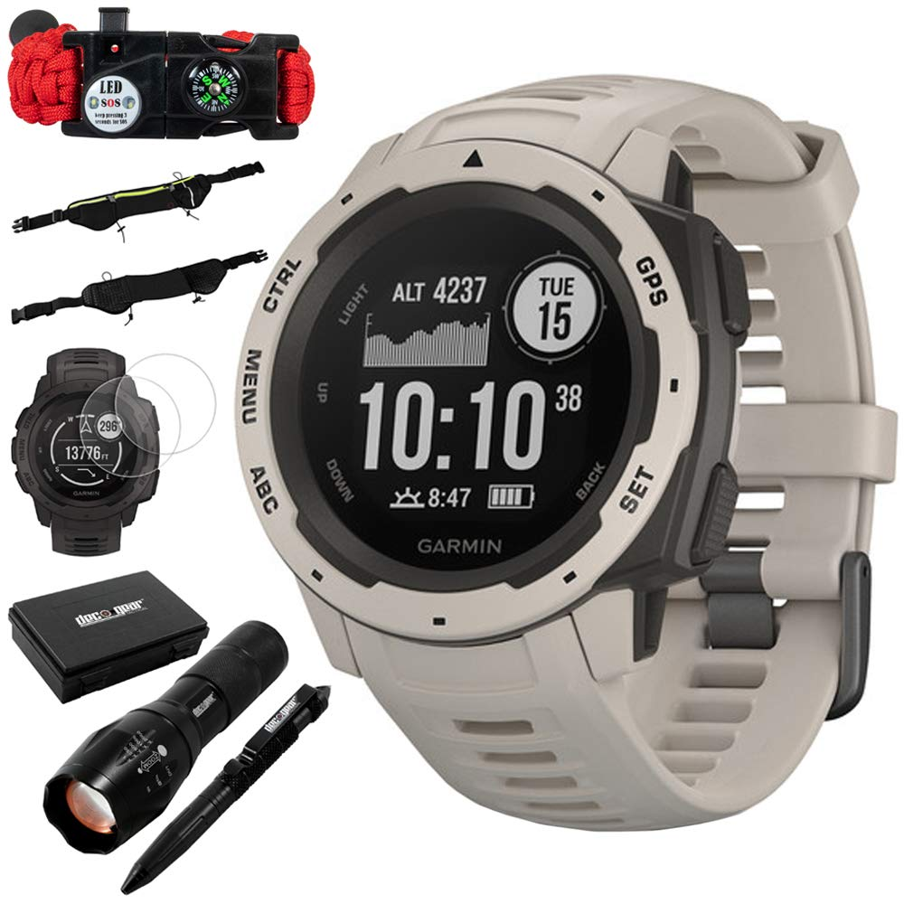 Garmin Instinct Rugged Outdoor Watch w GPS, and Heart Rate Monitoring, Tundra Accessories Bundle Includes, Tactical Emergency Bracelet, Tactical Flashlight Pen Set w Case, Zippered Waist Bag More