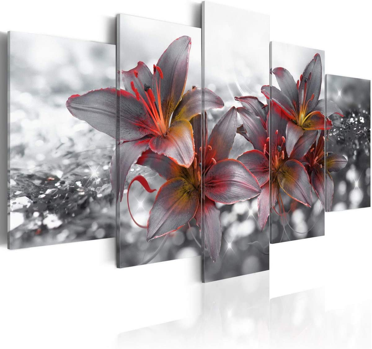 Canvas Print Flower Modern Wall Art Lily Picture Framed Red Black Gray 5pcs Artwork Decor for Bedroom Kiss of Fire Painting Ready to Hang 20x40