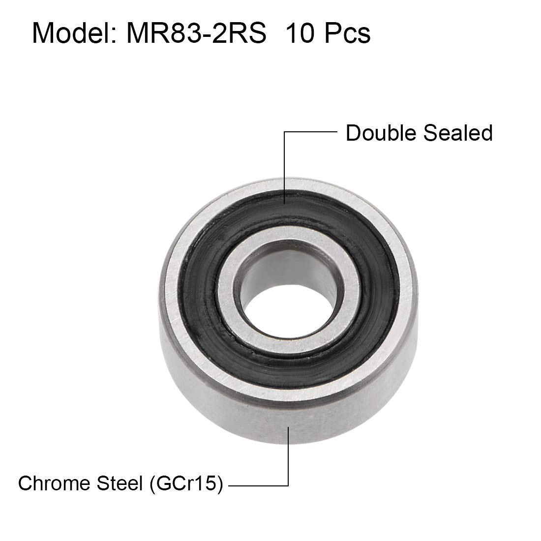 uxcell MR85-2RS Deep Groove Ball Bearings 5mm Inner Dia 8mm OD 2.5mm Bore Double Sealed Chrome Steel Z2 10pcs