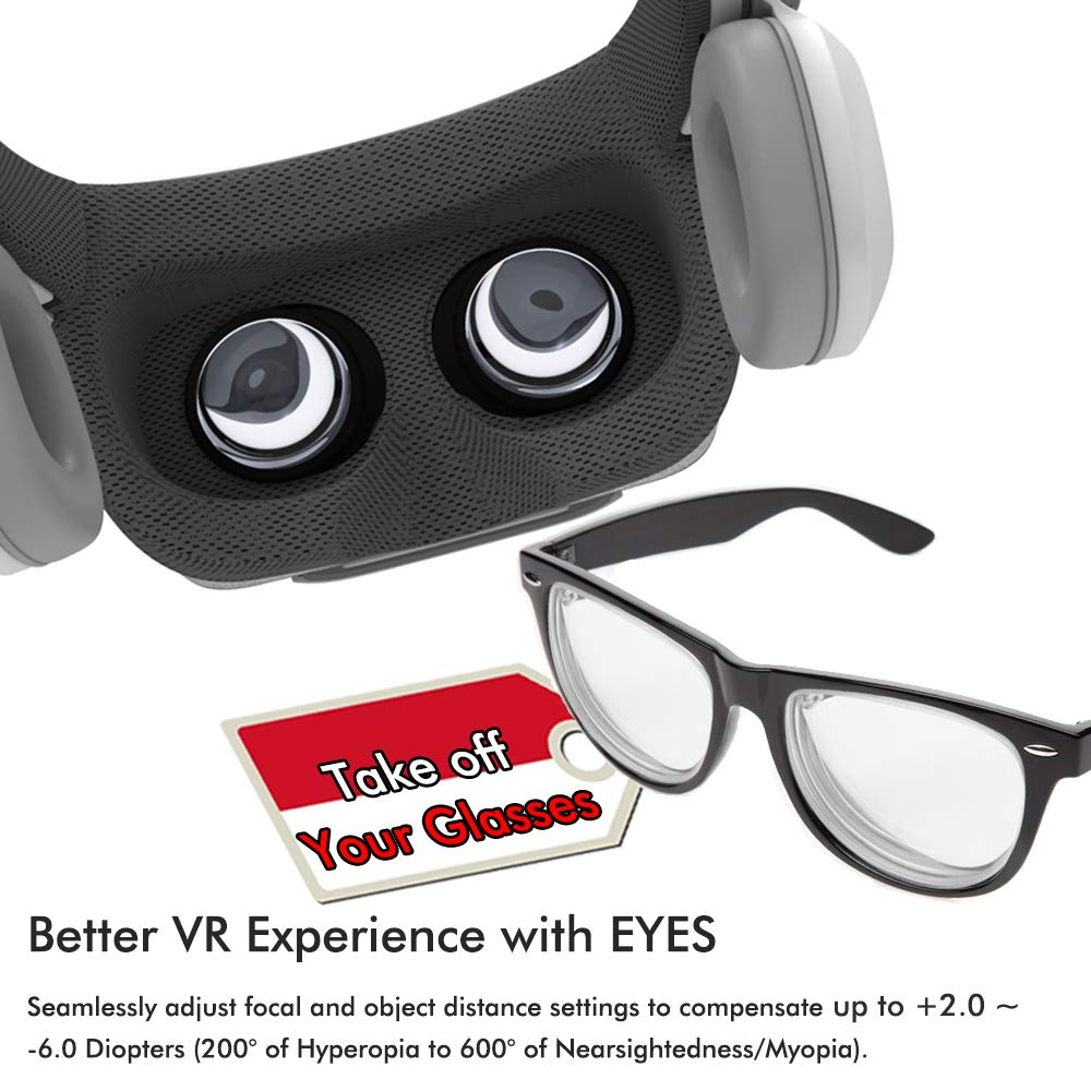 651ac33d7ae Amazon.com  Phone VR Headset with Headphones Eye Protected Movies   Games  Virtual Headset Reality Glasses for Myopia   Hyperopia 120° FOV Lightweight  VR ...