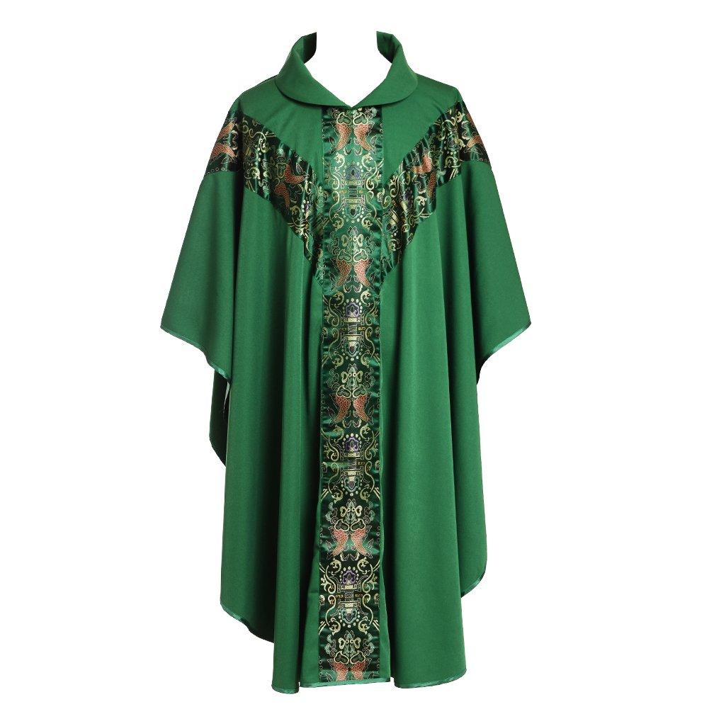 BLESSUME Priester Celebrant Messgewand katholisch Kirche Vater Masse Gew/änder Robe mit Stickerei Rot Gr/ün