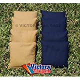 Weather Resistant Cornhole Bags Set - 4 Navy Blue & 4 Gold (Dark Gold)