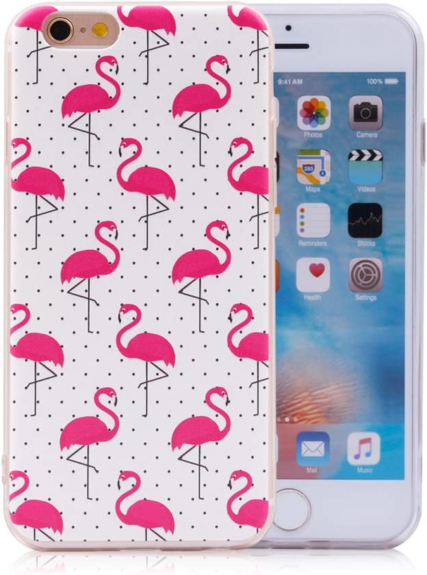 iProtect Cover Apple iPhone 6, 6s - Custodia Protettiva Morbida in TPU - Fenicotteri Rosa su Sfondo Bianco a Pois