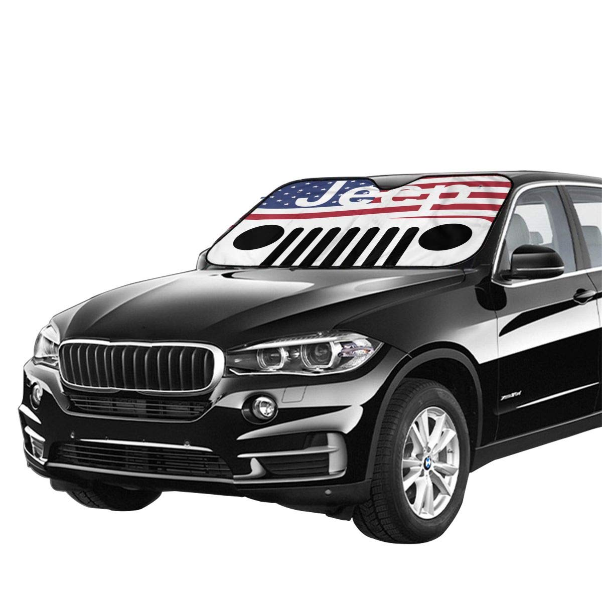Jeep American Flag Logo Sun Shade Heat Insulation Universal Windshield Shade Thicken Foldable Aluminum UV Protector Sunshiled For SUV Truck Camper To Keep Your Car Cool 70 130 Cm