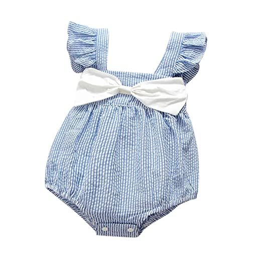 76eac08d605 Minisoya Newborn Infant Baby Girls Toddler Sleeveless Striped Romper  Bowknot Clothes Cute Ruffle Jumpsuit Outfits (