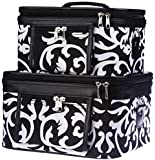 World Traveler Damask Print Collection Cosmetic Train Case (2 piece set)