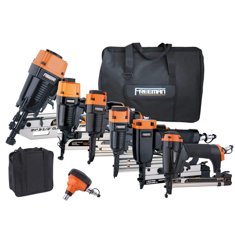 Freeman P9PCK Complete Pneumatic Nail Gun Combo Kit with 21 Degree Framing Nailer and Finish Nailers, Bags, and Fasteners (9-Piece) Ergonomic and Lightweight Nail Guns by Freeman