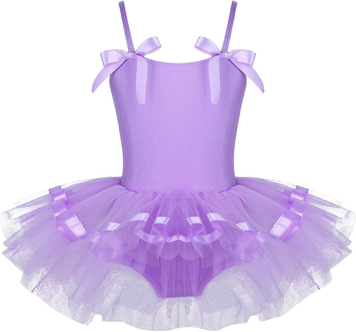 Freebily Girls Spaghetti Shoulder Ballet Leotard Princess Dancing Tutu Dress Gymnastics Dancewear