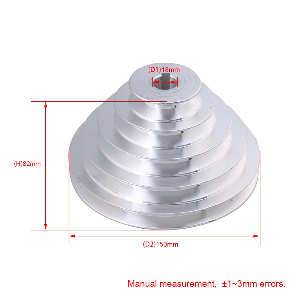 CNBTR 22mm Bore 54mm-150mm Outter Dia Aluminum 5 Slot A Type V-Shaped Pagoda Pulley 5 Step Pulley Belt 12.7mm Belt Width