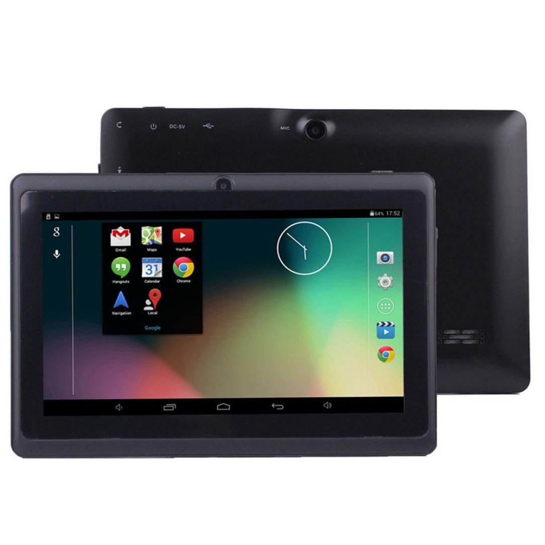 Tablet PC, 7'' Tablet Android 4.4 Quad Core HD 1080x720, Dual Camera Blue-Tooth Wi-Fi, 8GB 3D Game Supported (Black)