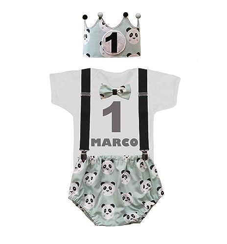 4bc6e25a6 Conjunto primer cumpleaños 1 año personalizado con el nombre del niño  pandas color verde mint (