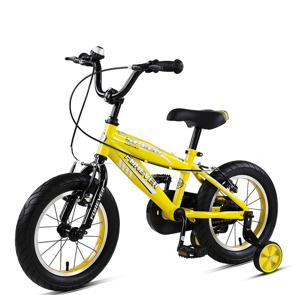 Fenfen Bicicleta para niños Bicicleta de montaña para niños de 14 Pulgadas Bicicleta para niños de Bicicleta de Acero con Alto Carbono, DE 3-5 años, Azul/Amarillo / Rojo (Color : Yellow)