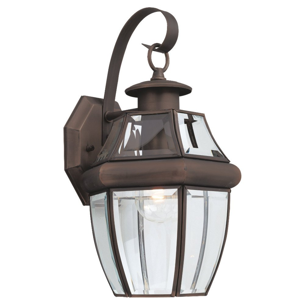 Sea Gull Lighting 8067-71 Single-Light Outdoor Lancaster Wall Lantern, Clear Beveled Glass and Antique Bronze