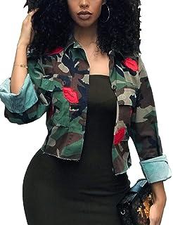 64f8c4a395c11 Sexyshine Women's Classic Casual Long Sleeve Camo Lightweight Zipper  Outwear Short Jacket