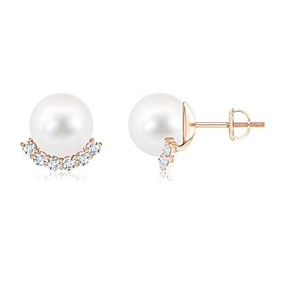 Angara Freshwater Cultured Pearl Half Moon Earrings with Diamonds Tbvm2rr