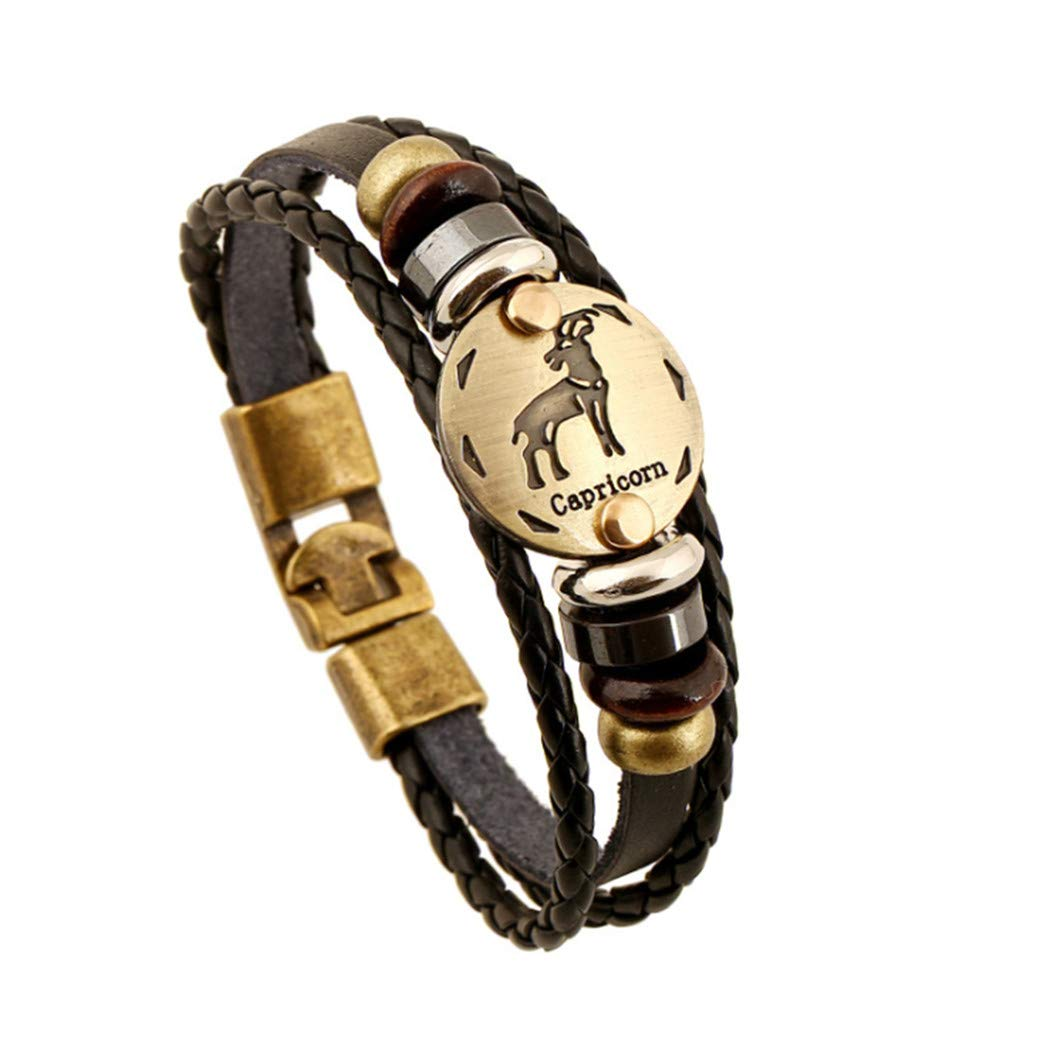 Eleusine Constellation Astrology Bracelet Unisexe Bracelet en cuir PU Bracelet (Balance)