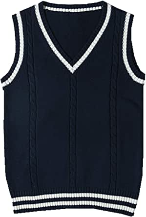 WOOKIT Jersey sin Mangas de algodón clásico Chaleco Escolar Chaqueta Linda con Cuello en v Uniforme Escolar Prendas de Punto