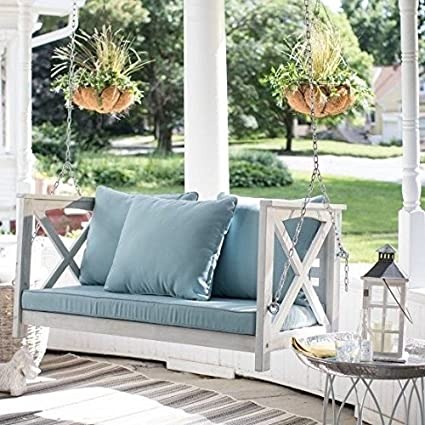 Amazon Com Front Porch Swing Patio 4 Ft With Cushion White Wash