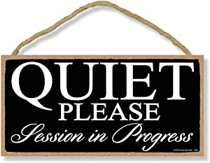 Honey Dew Gifts Black Quiet Please Session in Progress 5 inch by 10 inch Hanging Door Sign for Office, Salon, or Commerical Use