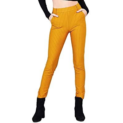 2LUV Women's Junior Solid Stretch Stripe Knit Classic Long Pants: Clothing